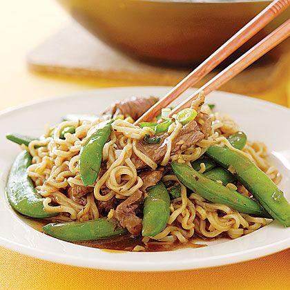 Fancy Ramen Noodles: Sirloin-Snap Pea Stir-fry