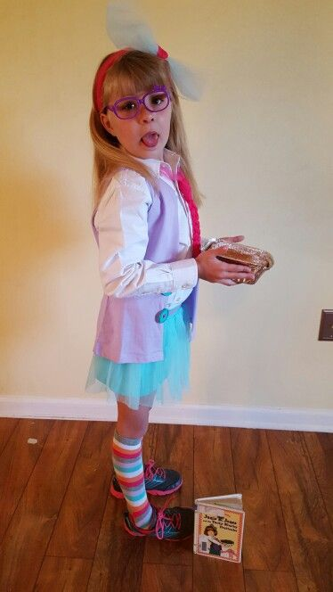 Junie B. Jones and the Yucky Blucky Fruitcake.  Costume for school celebrating read across America week and world book day.