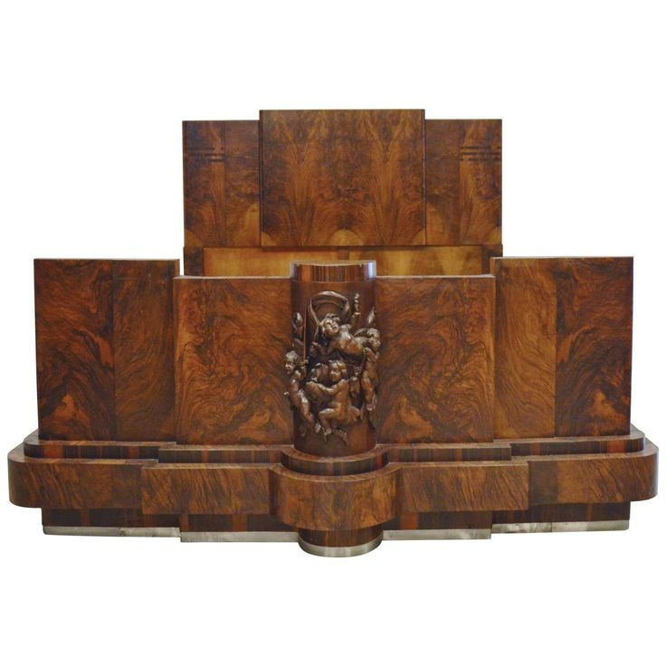 Italian art deco walnut burl and carved queen bed for Modern art deco bedroom furniture