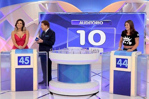 """PORTAL JORGE GONDIM: Com 14 de pico, Silvio Santos bate Record em São P...Silvio recebeu as modelos Geisy Arruda e Rita Mattos no """"Jogo das 3 Pistas"""