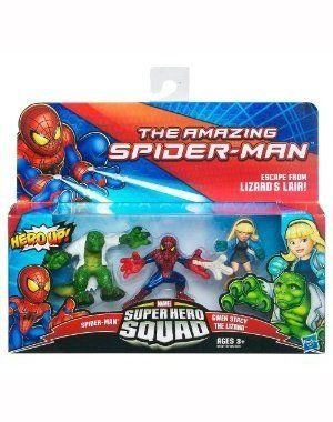 Amazing SpiderMan Super Hero Squad 3Pack Escape From Lizards Lair SpiderMan, Gwen Stacy The Lizard by Hasbro. $9.00. Escape from Lizard's Lair 3 pack. Super Hero Squad figures are ~2 inches in height. Collect them all!. Age 3+. Includes: SpiderMan, Gwen Stacy, and The Lizard figures. GREEN GOBLIN and DOC OCK think they spell double trouble for SPIDERMAN, but the Web Slinger has other ideas!Spring into action with this 3pack of collectible, stylized characters! W...
