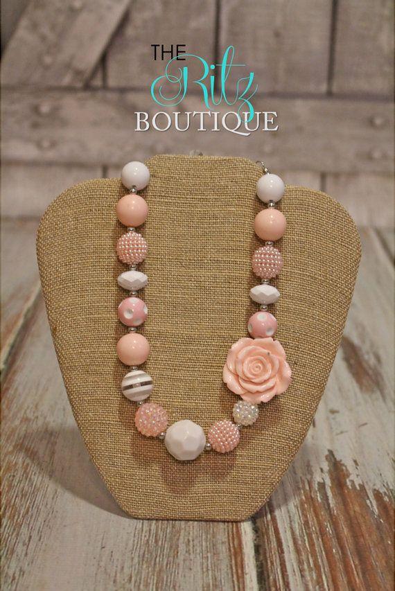 Chunky Bubblegum Necklace Photo prop, PINK flower necklace