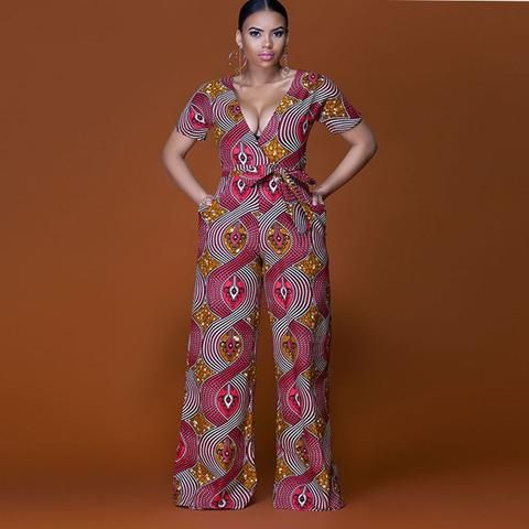 a066e7d265b Elegant sexy deep v-neck plus size loose African Print dashiki long pant  jumpsuit fashion wide leg flare trousers women rompers