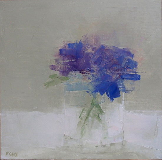 Blue Floral by Mary Jo O'Gara Oil ~ 8 x 8