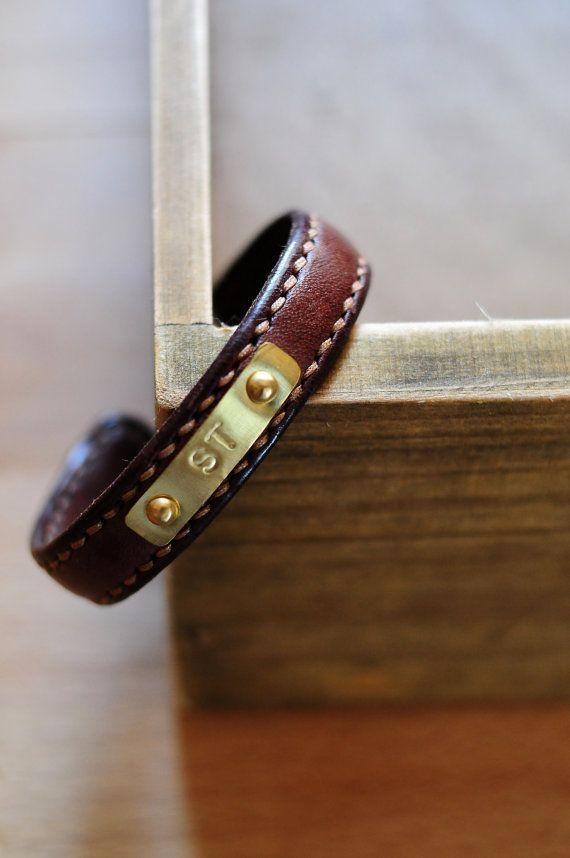 Hand Stitched Dark Brown Leather Bangle/ Bracelet
