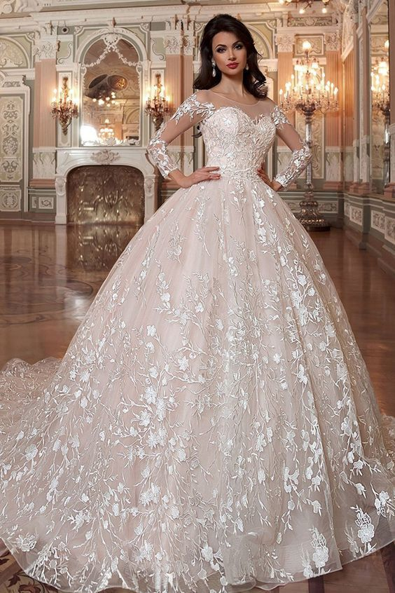 Attractive Tulle & Organza Scoop Neckline Ball Gown Wedding Dress With Lace Appliques & Beading