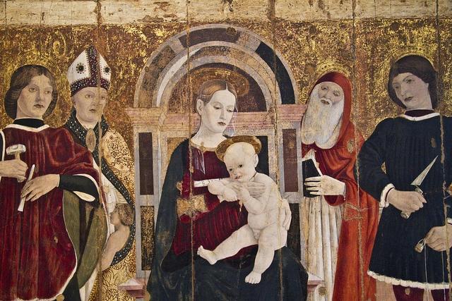 Maestro della Pala dei Muratori, Madonna col Bambino in trono e i Santi Claudio, Castorio, Martino e Girolamo (detail)
