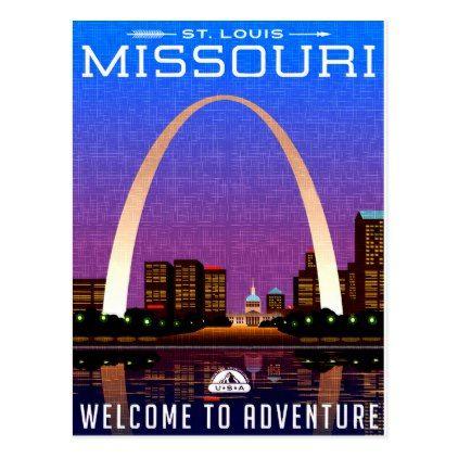 #Missouri St. Luis Arc tourist travel postcard - #travel #trip #journey #tour #voyage #vacationtrip #vaction #traveling #travelling #gifts #giftideas #idea