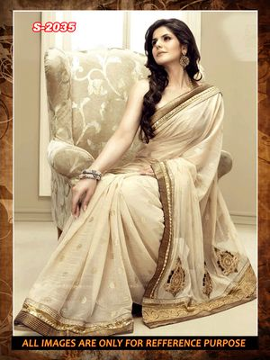 cream  ambroidery cotton party wear saree with blouse Bollywood Sarees Online on Shimply.com