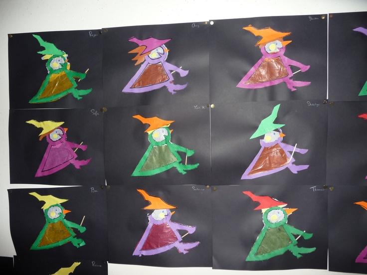Map juf Ineke: heksjes met transparant papier achter het uitgeprikte gedeelte.