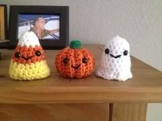 Crochet pumpkin ghost and candy corn set. by iheartlayla on Etsy