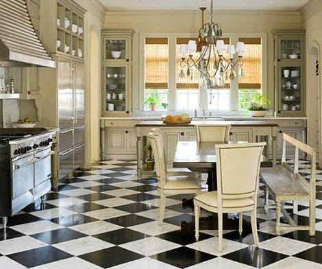 Stainless Appliances Paired With Traditional Cabinets Painted In Creamy Neutral B W Checkered Floor Checkerboard Floorfrench Kitchensdream