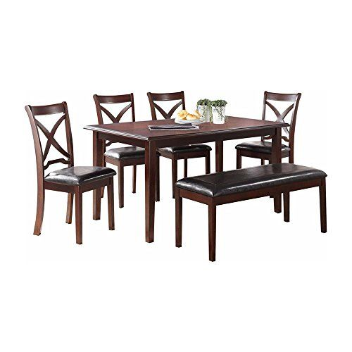 Malta Casual 6 Piece Rectangle Dining Table 4 Chair Bench In