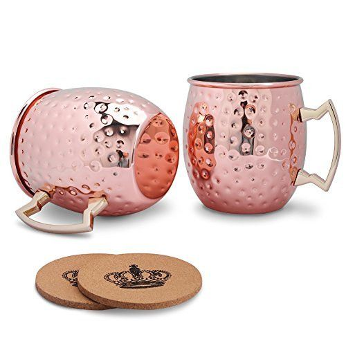 Moscow Mule Mugs, 2 PCs Hammered Copper Plated Moscow Mule Copper Mug Stainless Steel Lining 18 Oz Cocktail Drinking Mug with Wooden Coasters