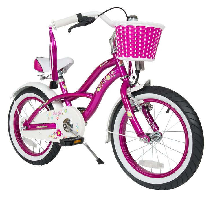 BIKESTAR® Original Premium Safety Sport Kids Bike Bicycle with sidestand and accessories for age 4 year old children | 16 Inch Cruiser Edition for girls/boys | Candy Purple