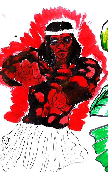 Rojo&Negro - 2015 - JhetroMan.- ejercicio con plumilla, pnceles y tinta china  #dibujo #arte #psicodelia #trip #JhetroMan #psychedelic #drawing #ilustration