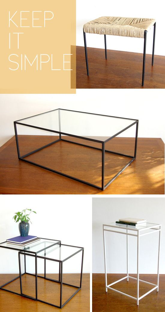 Oooh the simple glass/metal frame coffee table is gorgeous!