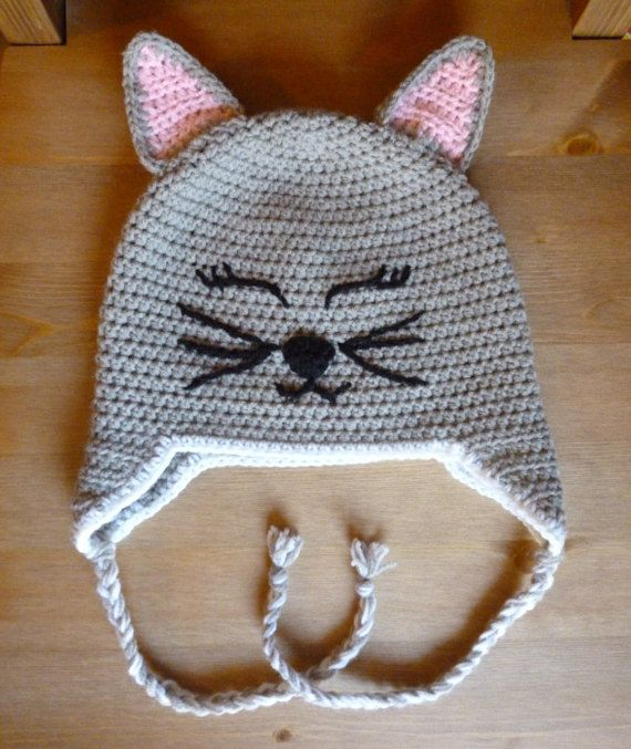 crochet hat/cat hat/cat beanie/crochet kitty by HeartMadeByMarina