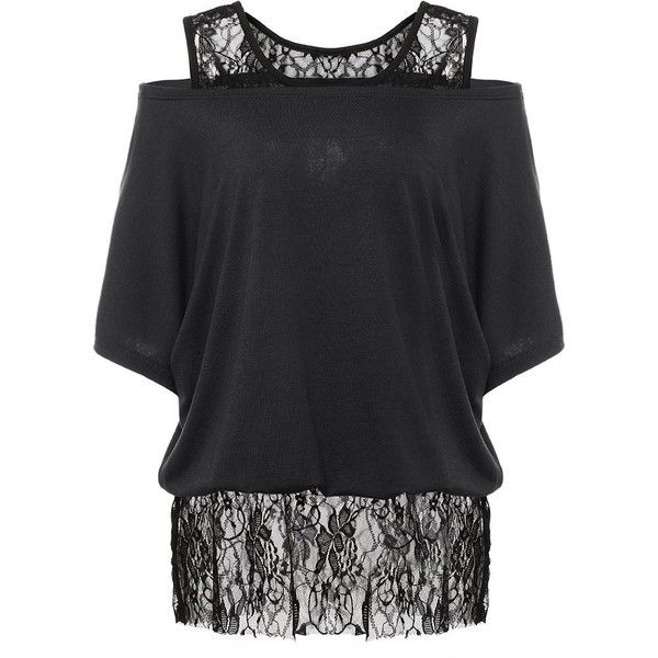 XWDA Plus Size T-shirt Women Lace Off Shoulder Tops Cotton Batwing... ($11) ❤ liked on Polyvore featuring tops, t-shirts, women's plus size tops, women's plus size graphic tees, off shoulder t shirt, cotton t shirts and plus size off the shoulder tops