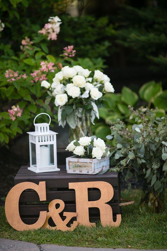 Grandes iniciales de madera para bodas, grandes letras de madera & signo Ampersand, grandes letras de madera sin terminar para bodas, grandes letras de madera