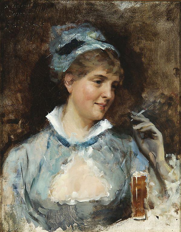 Paintings by Albert Edelfelt - Nainen savuke kädessä / Woman holding a cigarette, 1870's