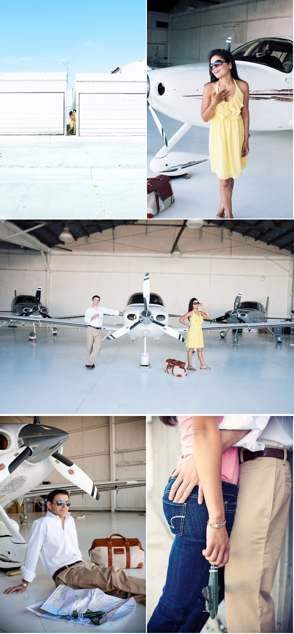cute airplane engagement session