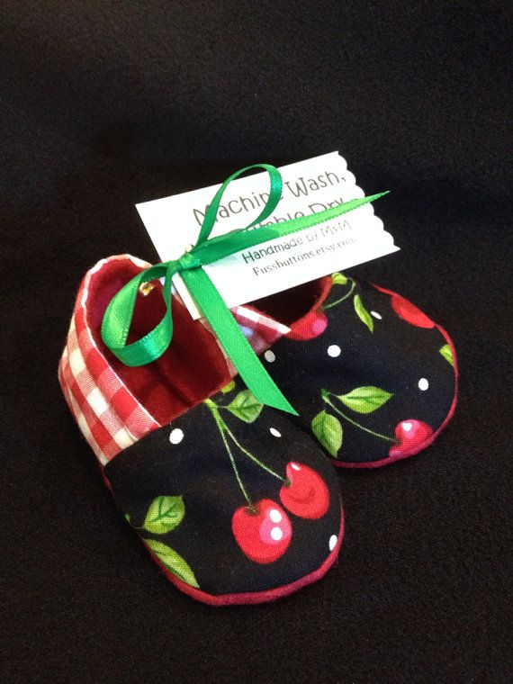 Cherry Punk/Pinup Baby Booties 0-6 6-12 Mo For A Rockabilly Baby on Etsy, $12.00