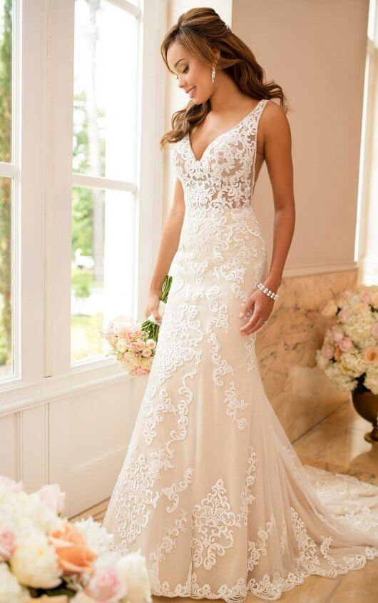 8c2aa6c849 6643 Lace Wedding Dress with Sheer Cutouts by Stella York