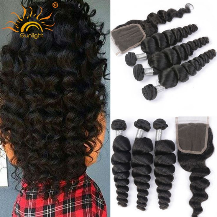 8A Brazilian Loose Wave With Closure 3 Bundles Virgin Hair With Lace Closure Human Hair Weft With Closure Loose Body 4Pcs Lot