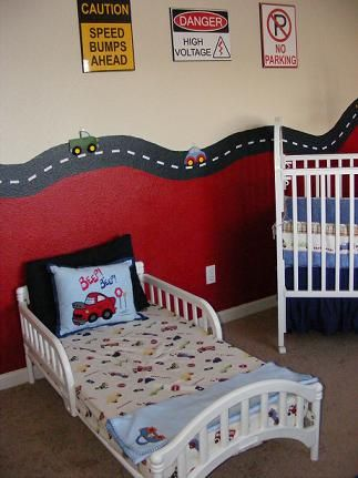 Easy wall paint, half red and road lined border. Neat for car themed nursery - add our transport lampshade and Ta Da! #ereki #transports