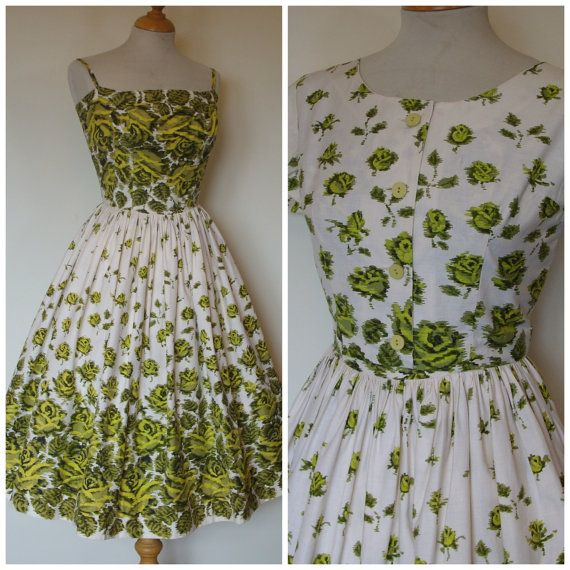 Horrockses 1950s Dress / 50s Fitted Sun by RainbowValleyVintage