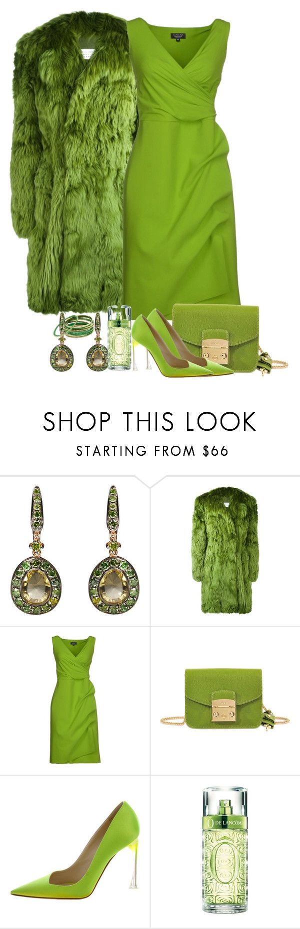 """What a Color"" by ahapplet ❤ liked on Polyvore featuring Annoushka, Maison Margiela, La Petite Robe di Chiara Boni, Furla, Christian Dior, Lancôme, Amrita Singh, GREEN, Monochromatic and apple"