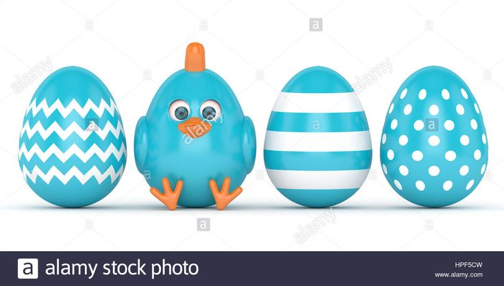 Download this stock image: 3d render of Easter chick with painted eggs isolated over white background - HPF5CW from Alamy's library of millions of high resolution stock photos, illustrations and vectors.