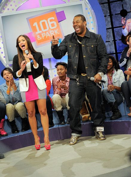 "Rocsi Diaz Photos Photos - BET host Rocsi Diaz with rapper Busta Rhymes on the set of BET's ""106"