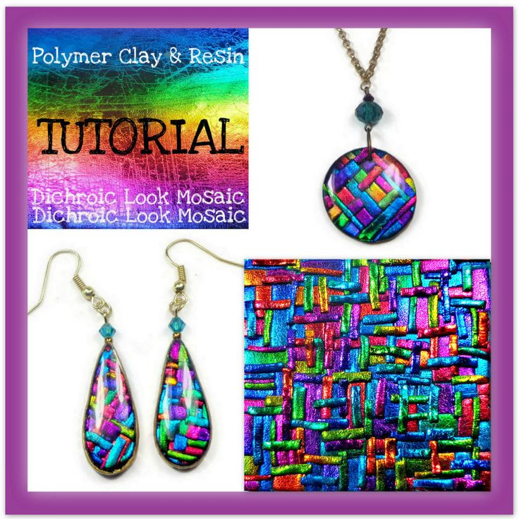 Polymer clay Tutorial- Dichroic Look Mosaic Tutorial- Pendant & Earring Tutorial- Jewelry Making Tutorial - pinned by pin4etsy.com