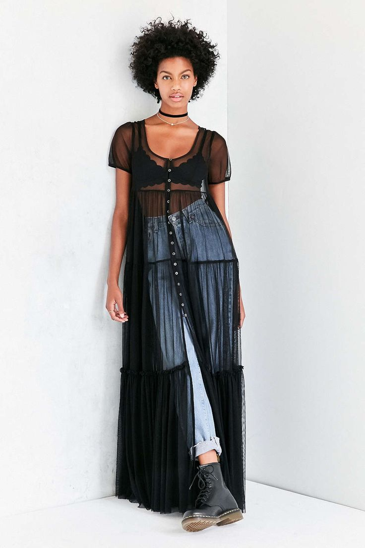 Kimchi Blue Sweeping Meadows Mesh Maxi Top - Urban Outfitters