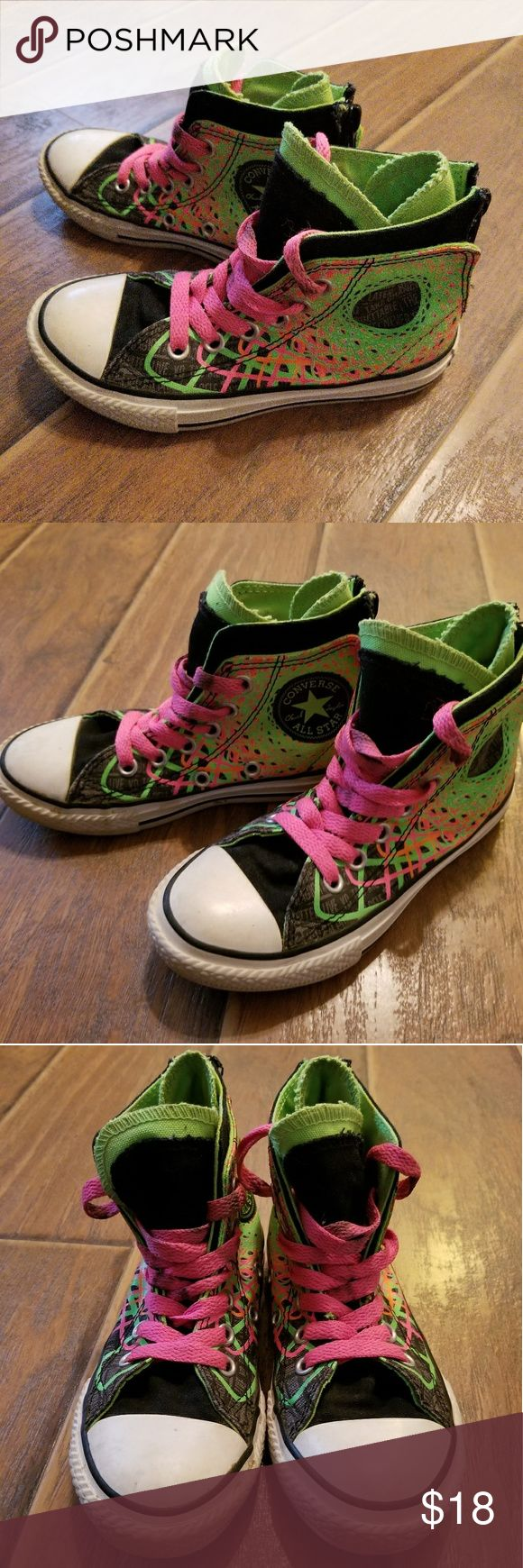 Size 11 unisex Converse Neon GUC size 11 unisex Converse Neon high tops. Back zip and laces. Clean footbeds. Could use some new laces due to a few dingy areas. Converse Shoes