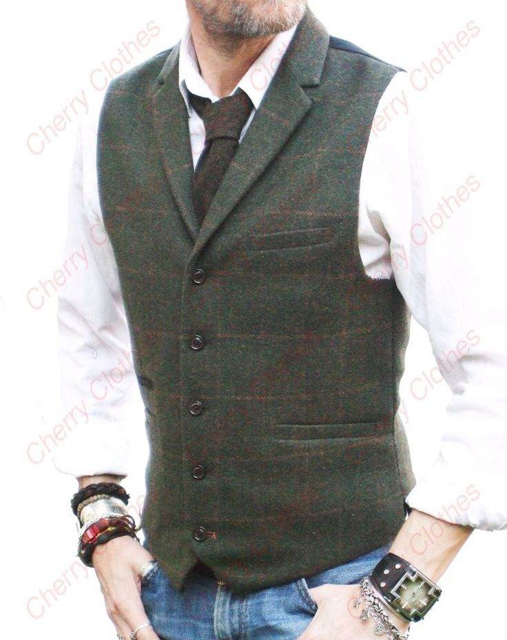 MENS OLIVE GREEN CHECK COLLAR LAPEL TWEED WAISTCOAT VEST WOOL BLEND-TAILORED FIT