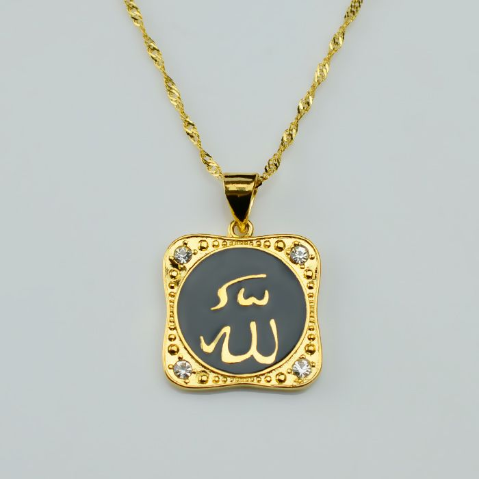 "Find More Chain Necklaces Information about 45cm / 18"" Allah Chain Necklaces Pendants Islam Chain Women Gold Plated 18 k Arab Muslim Yellow GP Jewelry Oil Drip,Eid Gifts,High Quality Chain Necklaces from Golden Mark Jewelry Factory on Aliexpress.com"