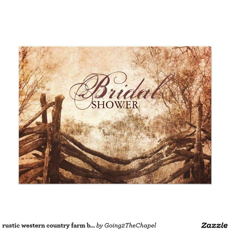 wedding invitations printed on wood%0A Rustic western country farm bridal shower card  Wood Wedding