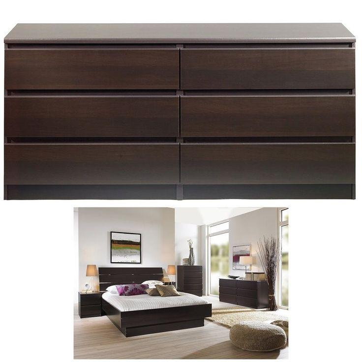 Wood 6 drawer double dresser chest cabinet bedroom storage furniture organizer #PerfectAllinaceLad #Mediterranean