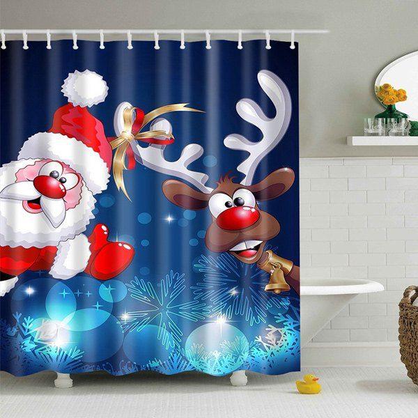 Polyester Waterproof Xmas Santa Elk Christmas Shower Curtain In Deep Blue,S | Twinkledeals.com