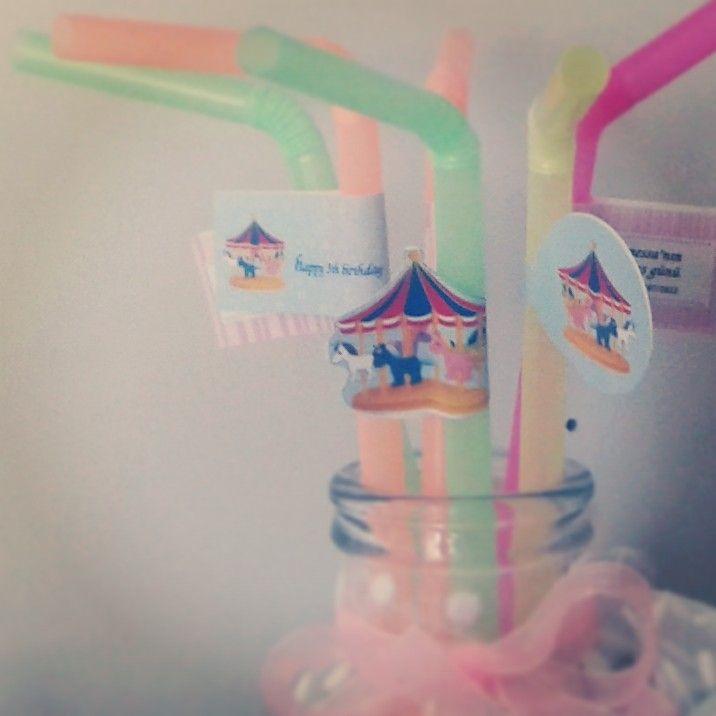 Pinkpartybox çocuk doğum günü için pipet sticker