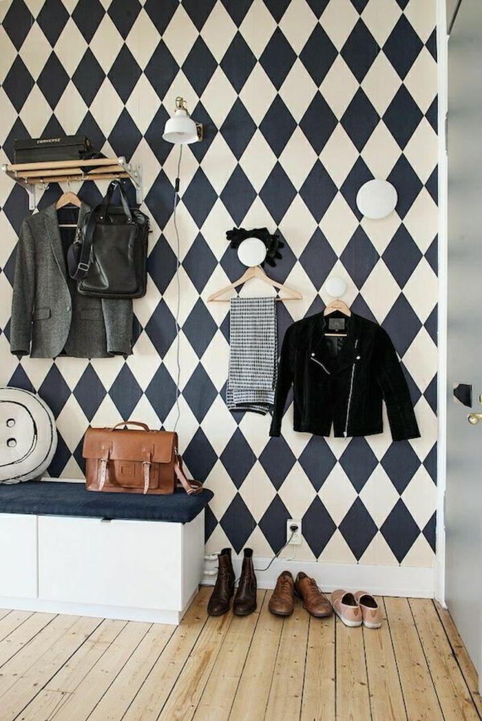 meuble d'entrée, mur a carreaux blanc-noir, console d'entrée, mur blanc-noir