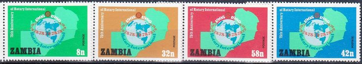 Zambia - Postage stamps commemorating the 75th Anniversary of the Rotary Club International, 1905-1980.