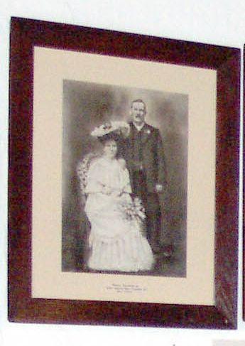 Framed photo of Harrison wedding.