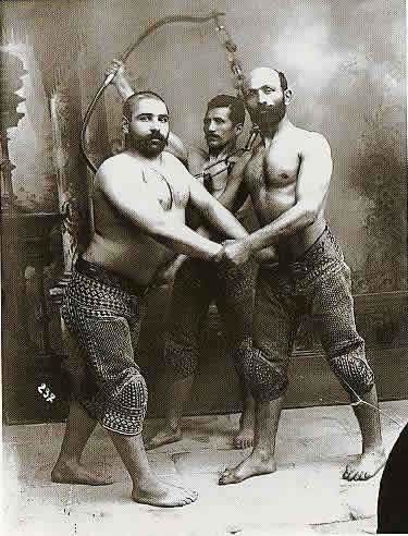 Three Persian Wrestlers by Antoin Sevruguin, c.1890