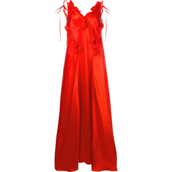 Attico ruffled maxi dress ($1,197) ❤ liked on Polyvore featuring dresses, frilly dresses, red frilly dress, red ruffle dress, flouncy dress and maxi dress