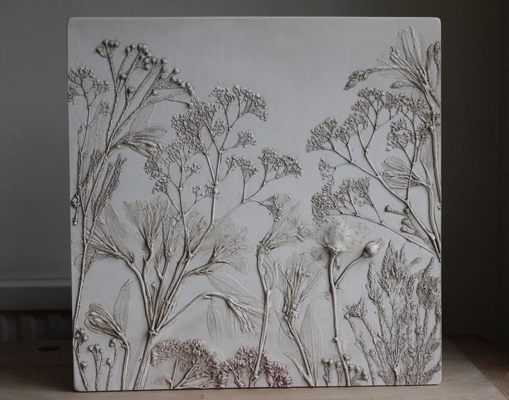 press real foliage to make impression, then fill to make relief - inspiration from Tactile Studio