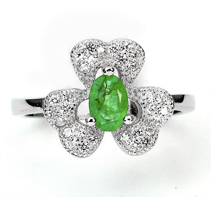 Sz 7, 14k White Gold Coating 925 Sterling Silver, Genuine Vivid Green Brazilian…